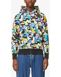 A Bathing Ape Shark And Camouflage-print Cotton-jersey Hoody - Black