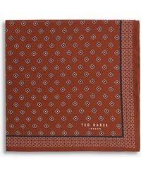 Ted Baker Geometric-print Silk Pocket Square - Orange