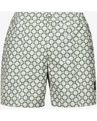 PREVU Trinity Logo-embroidered Geometric-print Swim Shorts - Green