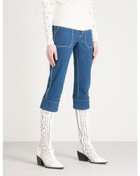 Chloé High-rise Stretch-denim Cropped Pants - Blue