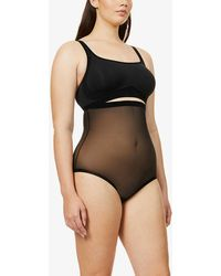 Wolford Womens Black High-rise Tulle Control Briefs 16