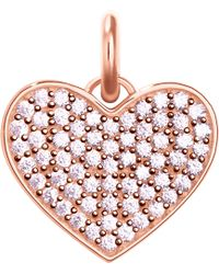 Thomas Sabo - Love Coin Rose-gold And Zirconia Pendant - Lyst