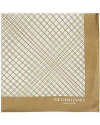 Richard James Checked Cotton Pocket Square - Brown