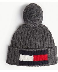 544cc5716b4 Tommy Hilfiger - Big Flag Knitted Wool And Cotton Beanie - Lyst