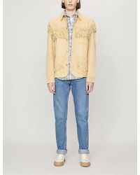 Polo Ralph Lauren Fringed Relaxed-fit Tapered-sleeve Leather Jacket - Blue