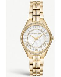 b9fa4f2d0d95 Michael Kors - Mk3899 Lauryn Yellow-gold Plated Stainless Steel And Pavé  Watch - Lyst