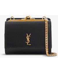Saint Laurent Monogram Leather Wallet-on-chain - Black