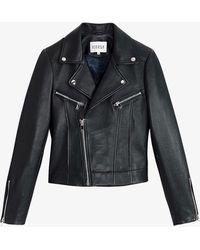 Claudie Pierlot Carissa Leather Jacket - Blue