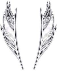 Shaun Leane - White Feather Silver And Mother-of-pearl Earrings - Lyst