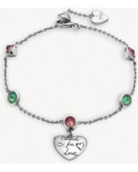 Gucci - Blind For Love Engraved Heart-pendant Sterling Silver And Zirconia Bracelet - Lyst