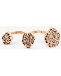 Kendra Scott - Naomi 14ct Rose-gold Plated And Drusy Double Ring - Lyst