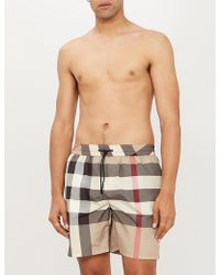 Burberry Archive Beige Checked Swim Shorts - Natural