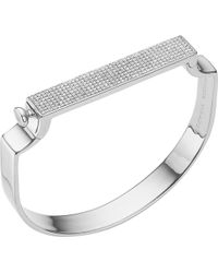 Monica Vinader Signature Diamond And Sterling Silver Bangle - Metallic