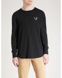 True Religion - Metallic-logo Cotton-jersey Top - Lyst