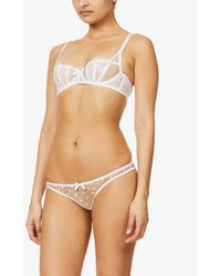 Agent Provocateur Brie Sheer High-rise Mesh Briefs - White