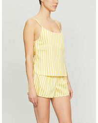 Les Girls, Les Boys Striped Cotton Pajama Camisole Top - Yellow