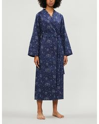 YOLKE Graphic-print Cotton Dressing Gown - Blue