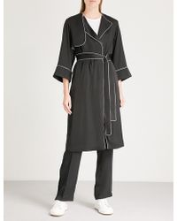 Mo&co. - Contrast-piping Satin Trench Coat - Lyst