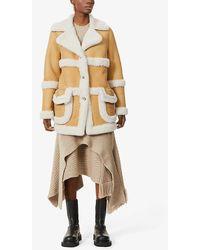 Eleventy Wide-collar Shearling Coat - Natural