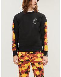 A Bathing Ape - Embellished Camouflage-panel Cotton-jersey Sweatshirt - Lyst