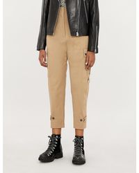 Pinko Tender Pants Cropped High-rise Tapered Crepe Pants - Natural