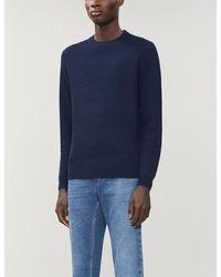 Ted Baker Textured Wool-blend Sweater - Blue