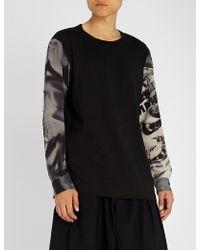 Yohji Yamamoto - Contrast-sleeve Cotton-jersey Top - Lyst