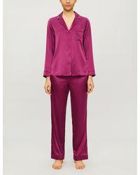 YOLKE Notch-lapel Stretch-silk Pajama Set - Purple