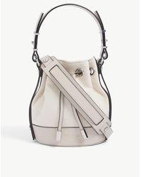The Kooples Tina Medium Brand-embossed Leather Bucket Bag - Multicolour