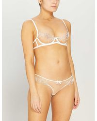 Agent Provocateur Lindie Underwired Embroidered Floral Mesh Bra - Natural
