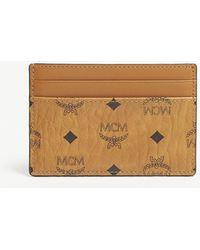 MCM Visetos Coated Canvas Card Holder - Brown