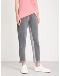 Stateside - Contrast-panel Straight Mid-rise Cotton-jersey Trousers - Lyst