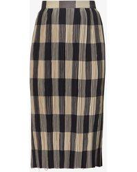 Khaite Sylvia Checked Woven Midi Skirt - Multicolour