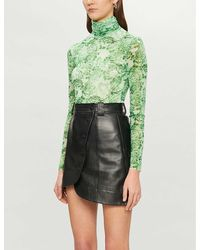 Ganni Leopard-print Turtleneck Woven Top - Green