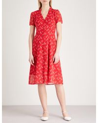 The Kooples - Floral-print Buttoned Crepe Dress - Lyst
