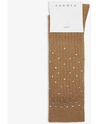Sandro Clara Diamante Socks - Natural