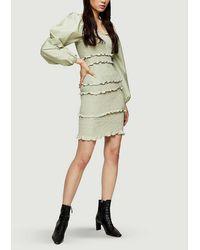 TOPSHOP Sage Shirred Pop Mini Dress - Multicolour