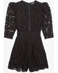 The Kooples V-neck Lace Jumpsuit - Black