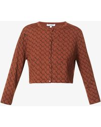 Miaou Branded Cropped Stretch-woven Cardigan - Brown