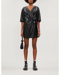 Designers Remix - Tara Wrap-over Balloon-sleeve Faux-leather Dress - Lyst