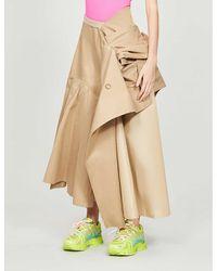 Junya Watanabe High-waisted Cotton-blend Maxi Skirt - Natural