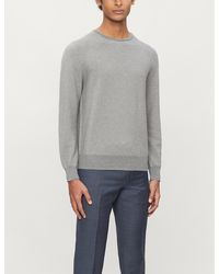 Canali Geometric-weave Cotton-knit Jumper - Grey