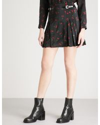 The Kooples - Cherry-print Pleated Silk Mini Skirt - Lyst