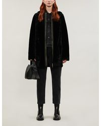Sandro Hooded Shearling Coat - Black