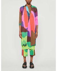 Pleats Please Issey Miyake Printed Pleated Woven Jacket - Multicolor