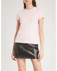 Helmut Lang - Ribbed Cotton T-shirt - Lyst