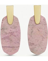 Kendra Scott - Aragon 14ct Gold-plated And Pink Rhodonite Drop Earrings - Lyst