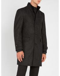 BOSS - Buttoned Wool-blend Coat - Lyst
