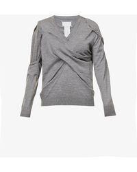 Maison Margiela Asymmetric-panel Wool Jumper - Grey