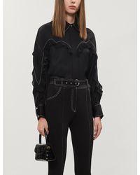Sandro Ruffled Contrast-stitch Satin Shirt - Black
